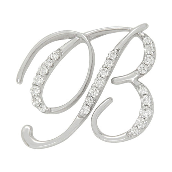 Diamond B Initial Pendant .24CT Set in 14k White Gold