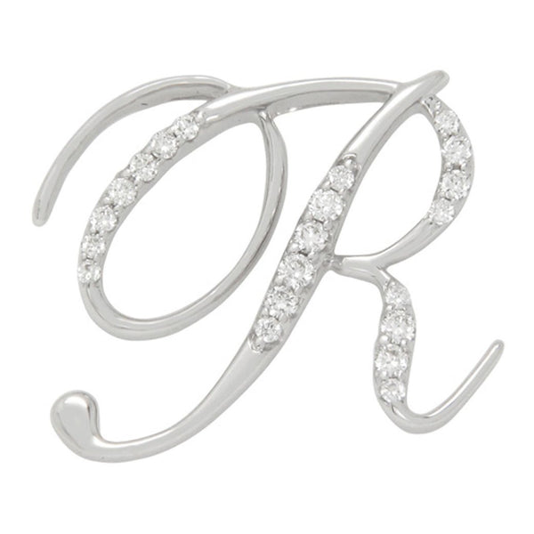 Diamond R Initial Pendant .19CT Set in 14k White Gold