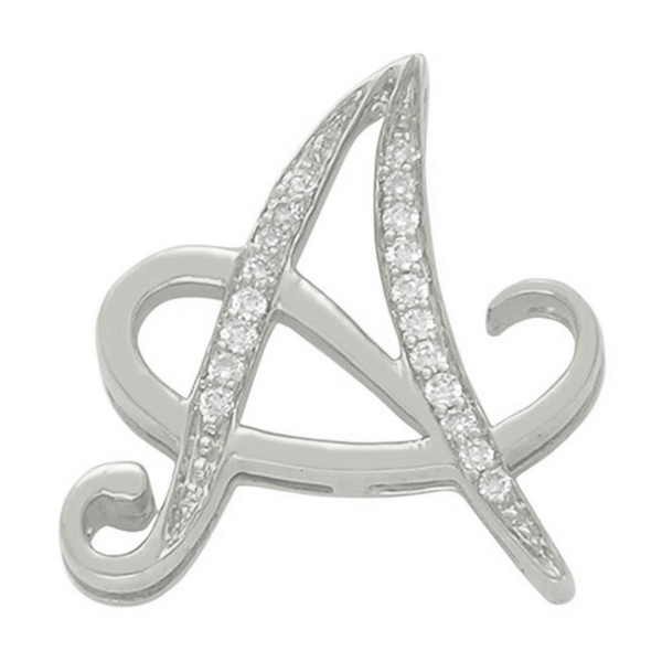 Diamond A Initial Pendant .27 CT Set in 14k White Gold
