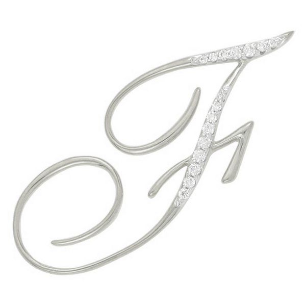 Diamond F Initial Pendant .14CT Set in 14k White Gold