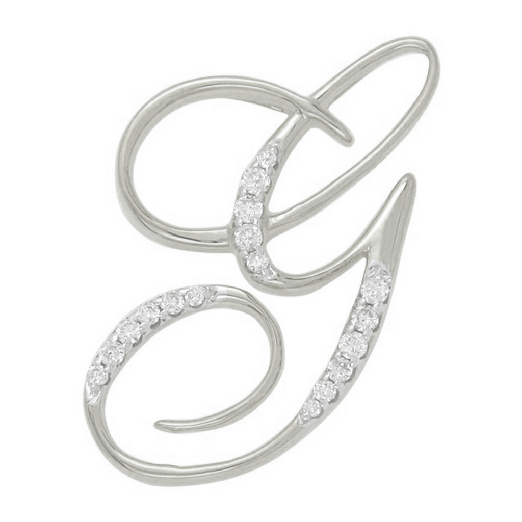 Diamond G Initial Pendant .11CT Set in 14k White Gold
