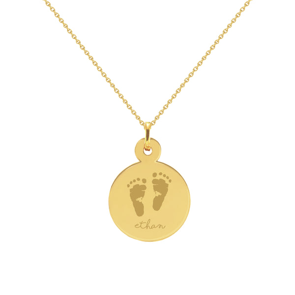 Baby Footprint with Name Yellow Gold Disc Necklace