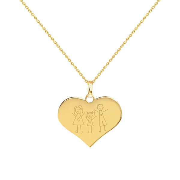 Family Doodle Yellow Gold Heart Necklace