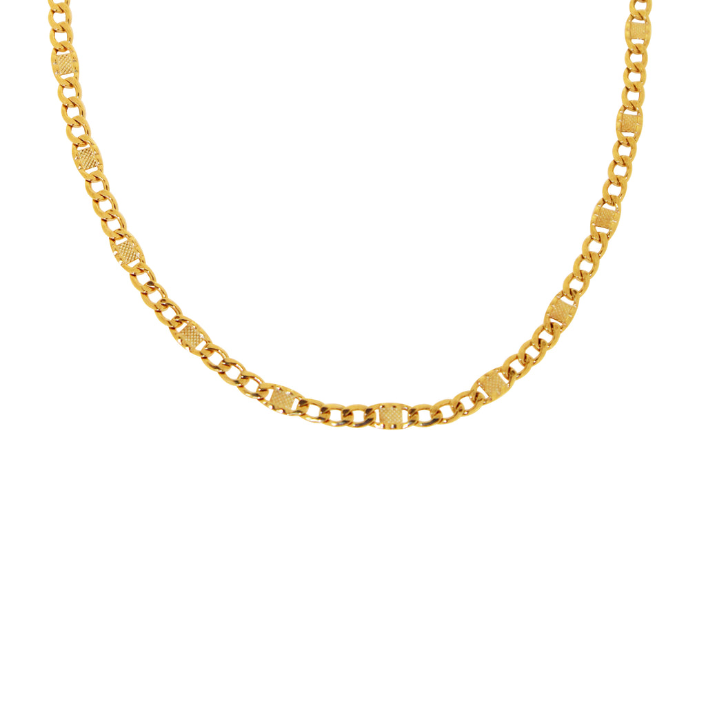 18K Saudi Gold Valentino Chain Necklace
