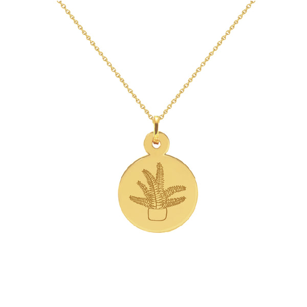 Fern Plant Yellow Gold Disc Necklace