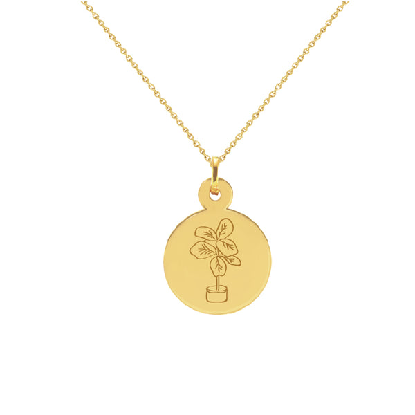 Fiddle  Plant Leaf Yellow Gold Disc Necklace