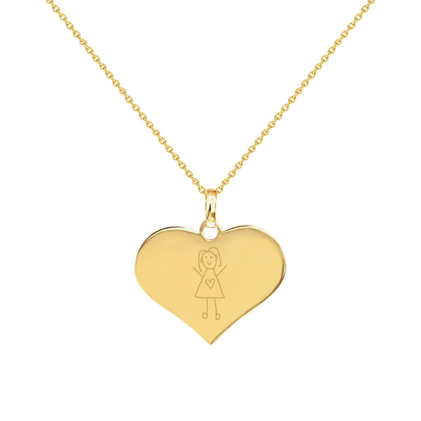 Girl Doodle Yellow Gold Heart Necklace