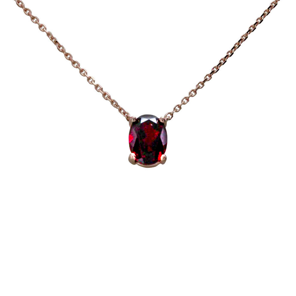 Garnet Oval Necklace