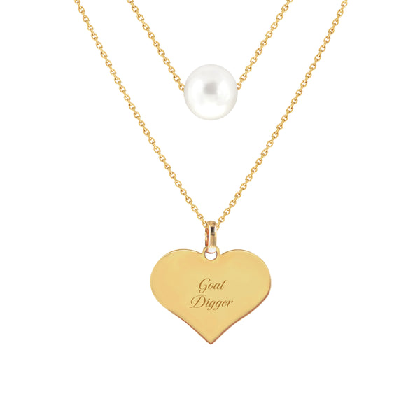 Goal Digger Two-Layer Pearl Necklace