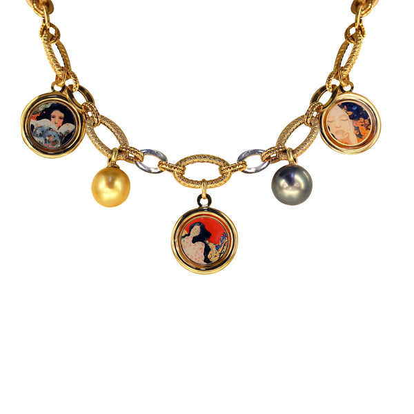 "The Modern Muse Collection ""GRETA"" 14K Yellow Gold Necklace with 18K Charms and Yellow and Gray South Sea Pearls"