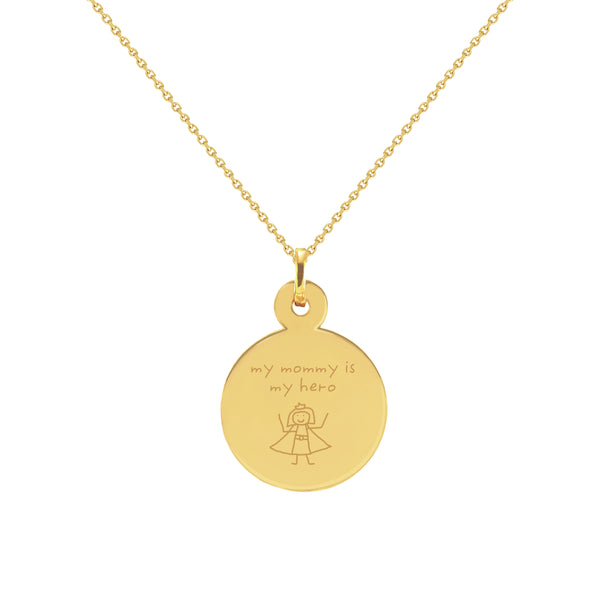 Hero Mom Doodle Yellow Gold Disc Necklace