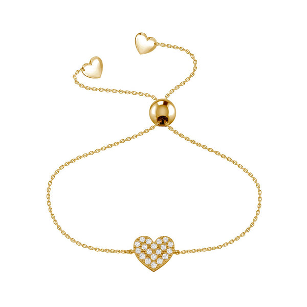 Affinity Collection Heart Bracelet set in 14k Yellow Gold