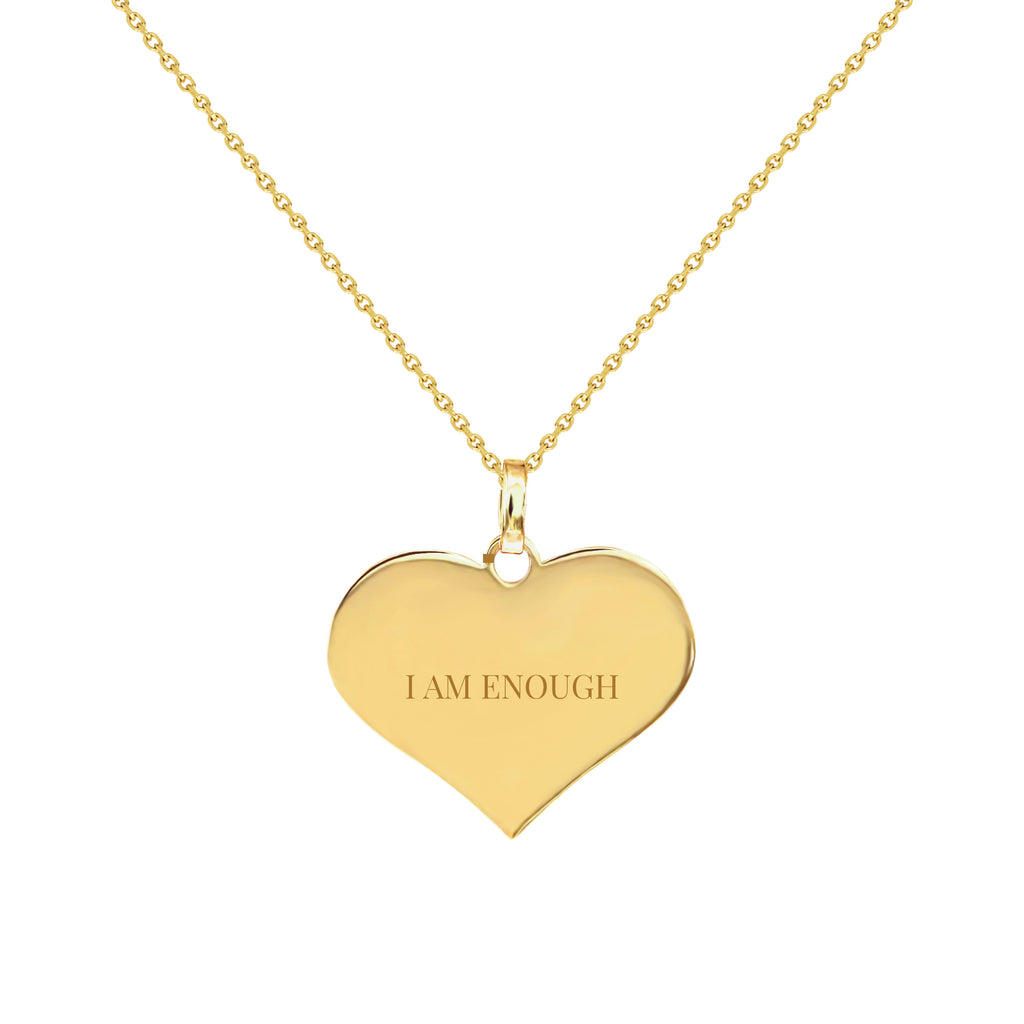I Am Enough Gold Heart Necklace