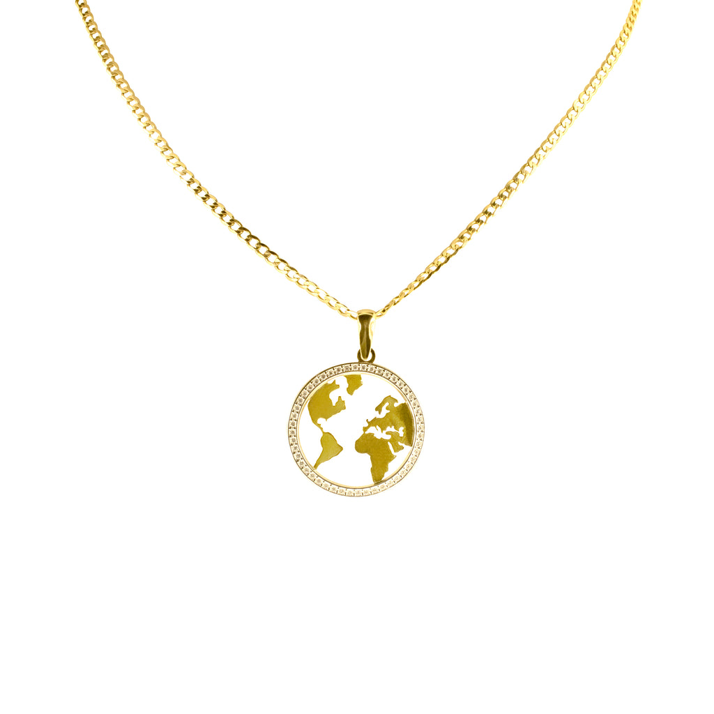 14K Italian Gold Kids  World Map Cubic Zirconian Pendant