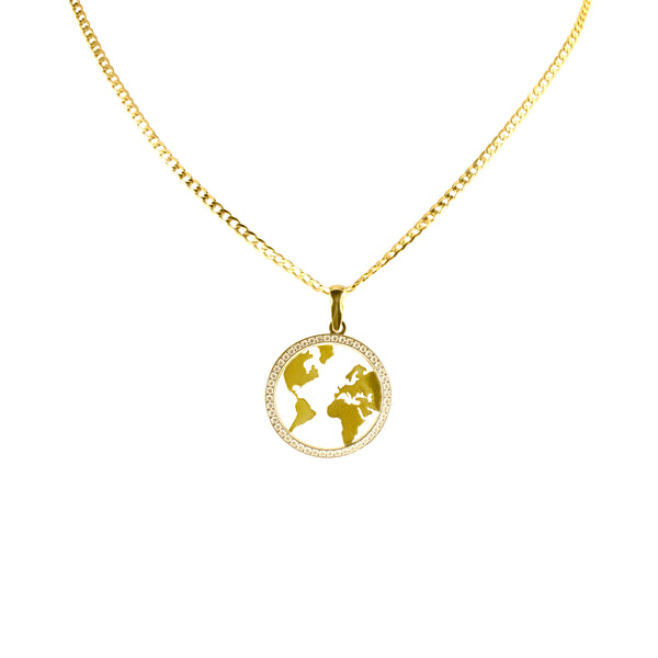 14K Italian Gold World Map Cubic Zirconian Pendant