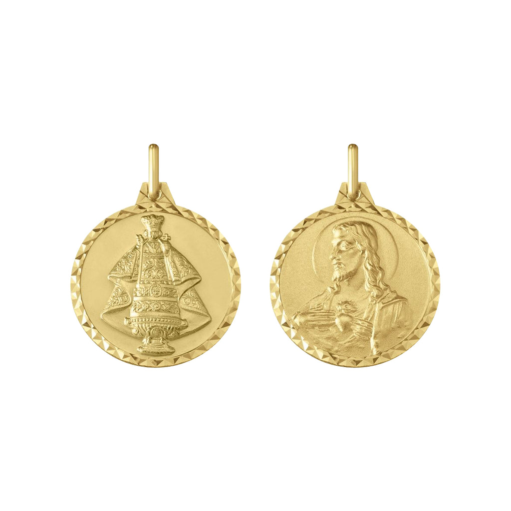 14K Italian Gold Reversible Sto. Niño and Sacred Heart Pendant