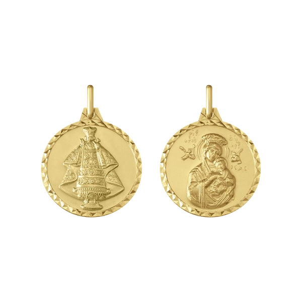 14K Italian Gold Reversible Sto. Niño and Mother of Perpetual Help Pendant