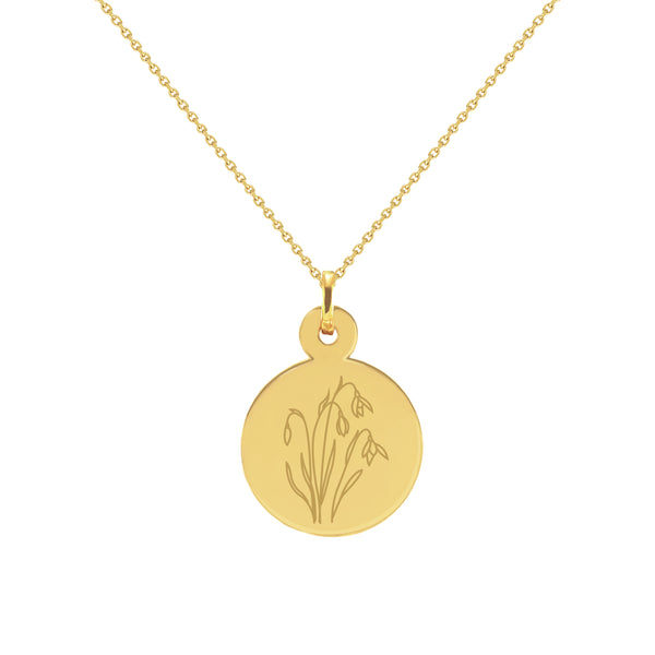 January Birth Flower in  Yellow Gold Disc Necklace