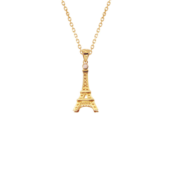 14K Italian Gold Choker with Eiffel Tower Charm