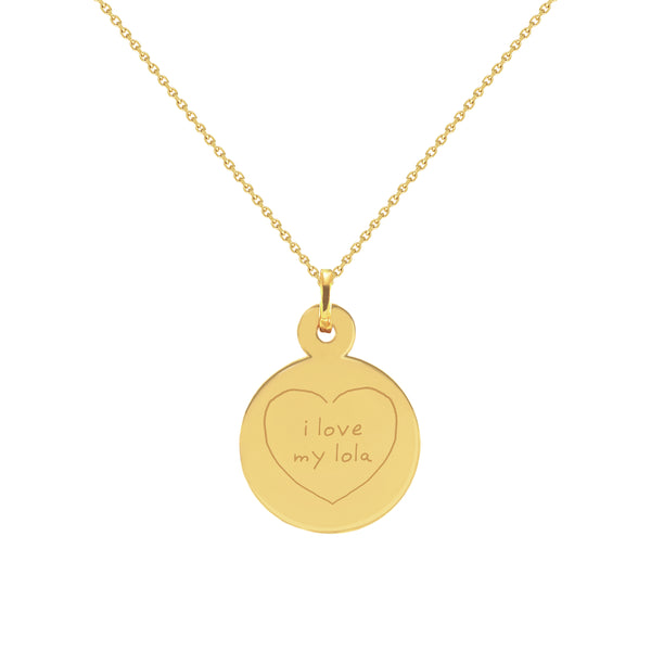 Love Lola Writing Doodle Yellow Gold Disc Necklace