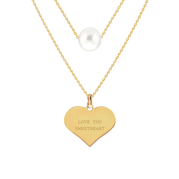 Love You Sweetheart Two-Layer Pearl Necklace