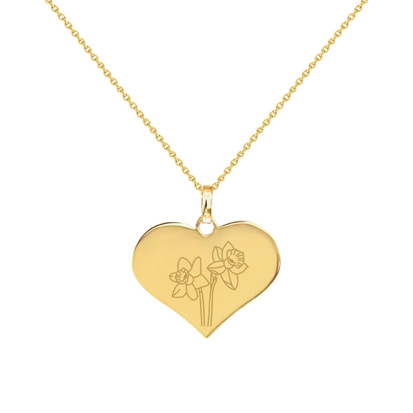 March Birth Flower in Yellow Gold Heart Necklace