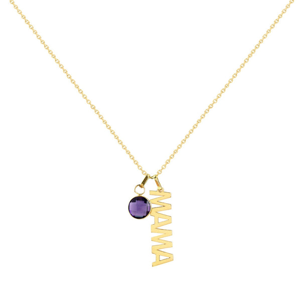 14K Italian Gold Mama Necklace with Removable Gemstone Charm