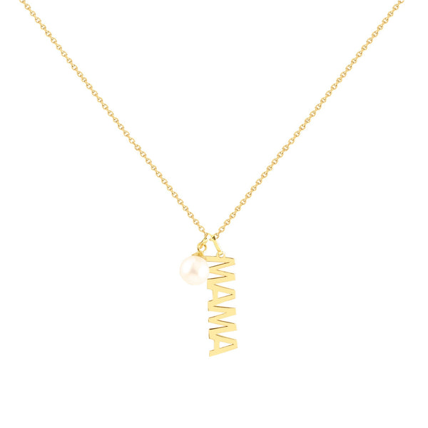 14K Italian Gold Mama Necklace with Removable Pearl Charm