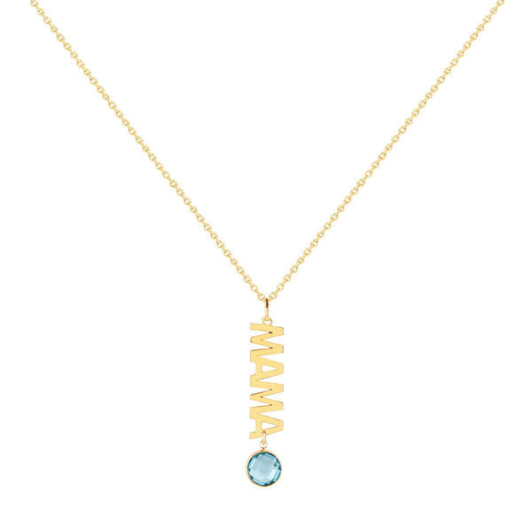 14K Italian Gold Mama Necklace with Gemstone Charm
