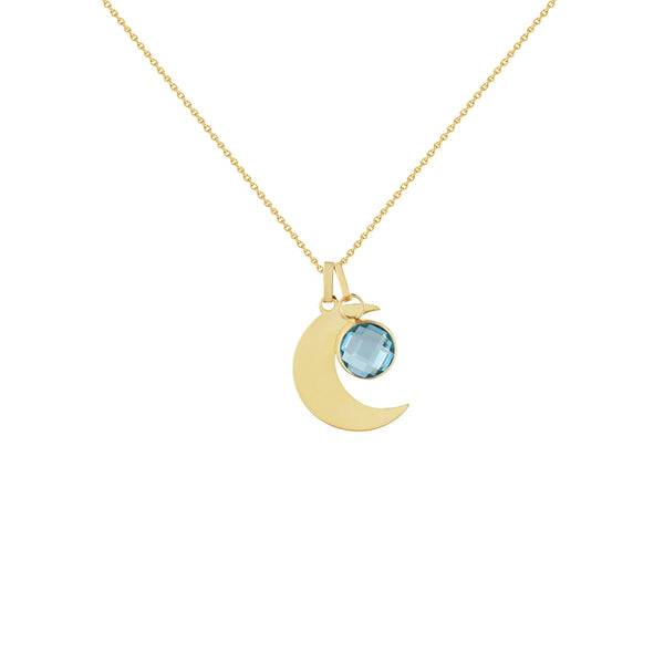 Yellow Gold Crescent Moon Necklace with Birthstone Charm