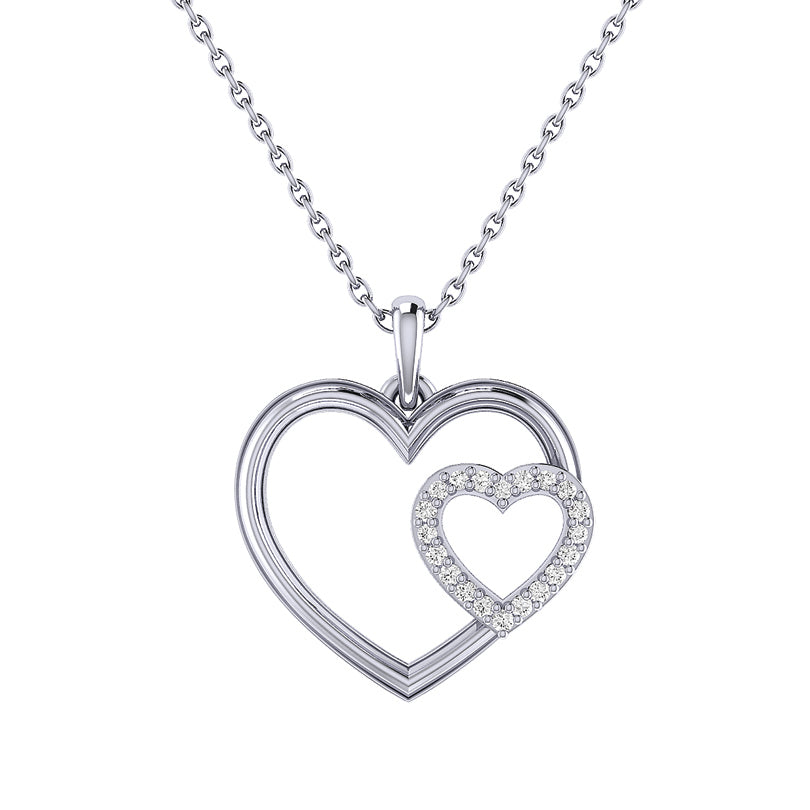 Double Open Heart Diamond Pendant set in 14k White Gold