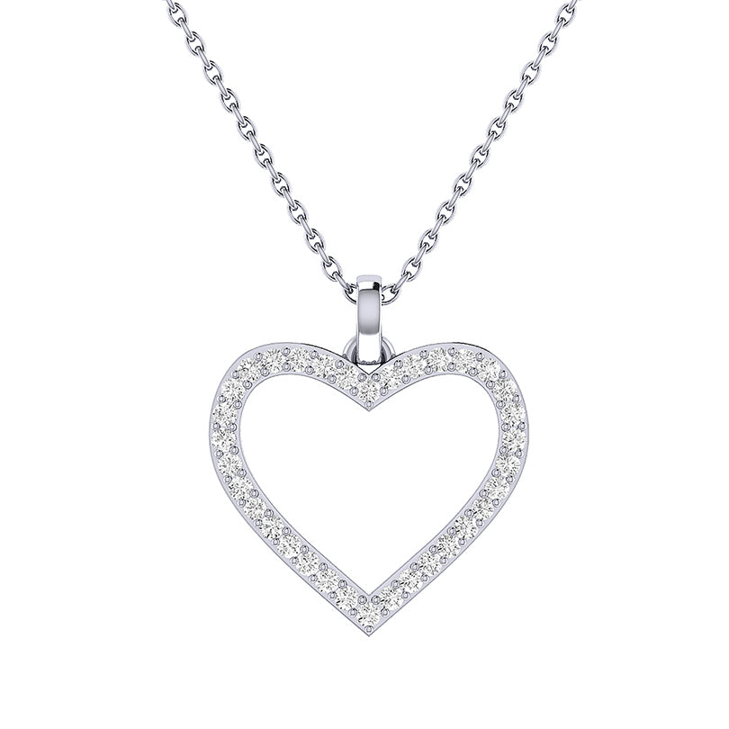 14k White Gold Open Heart Pendant