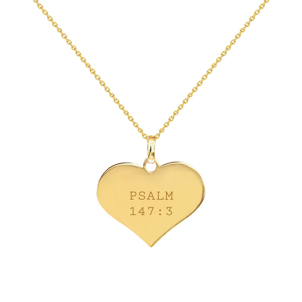 Psalm 147:3 Gold Heart Necklace