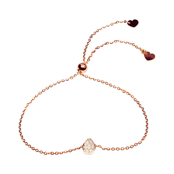 Affinity Collection Diamond Pear Bracelet Set in 14k Rose Gold