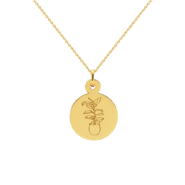 Rubber Plant Yellow Gold Disc Necklace