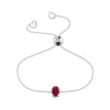 Affinity Collection Ruby Oval Bracelet Set in 14k White Gold