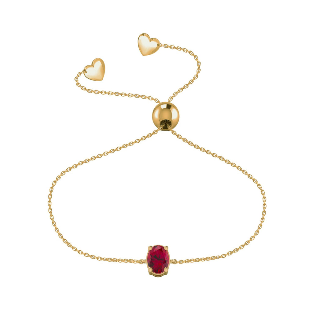 Affinity Ruby Oval Bracelet Set in 14k Yellow Gold