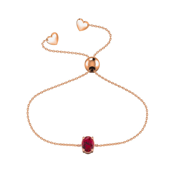 Affinity Collection Ruby Oval Bracelet Set in 14k Rose Gold