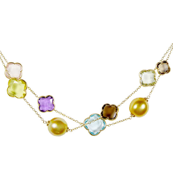 12mm Golden South Sea Pearl Bracelet with Multi- Colored Stones in 14K Yellow Gold