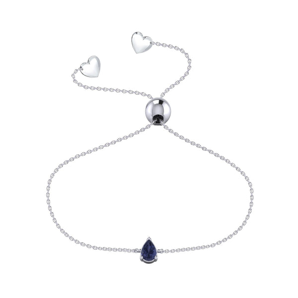 Affinity Blue Sapphire Pear Bracelet Set in 14k White Gold