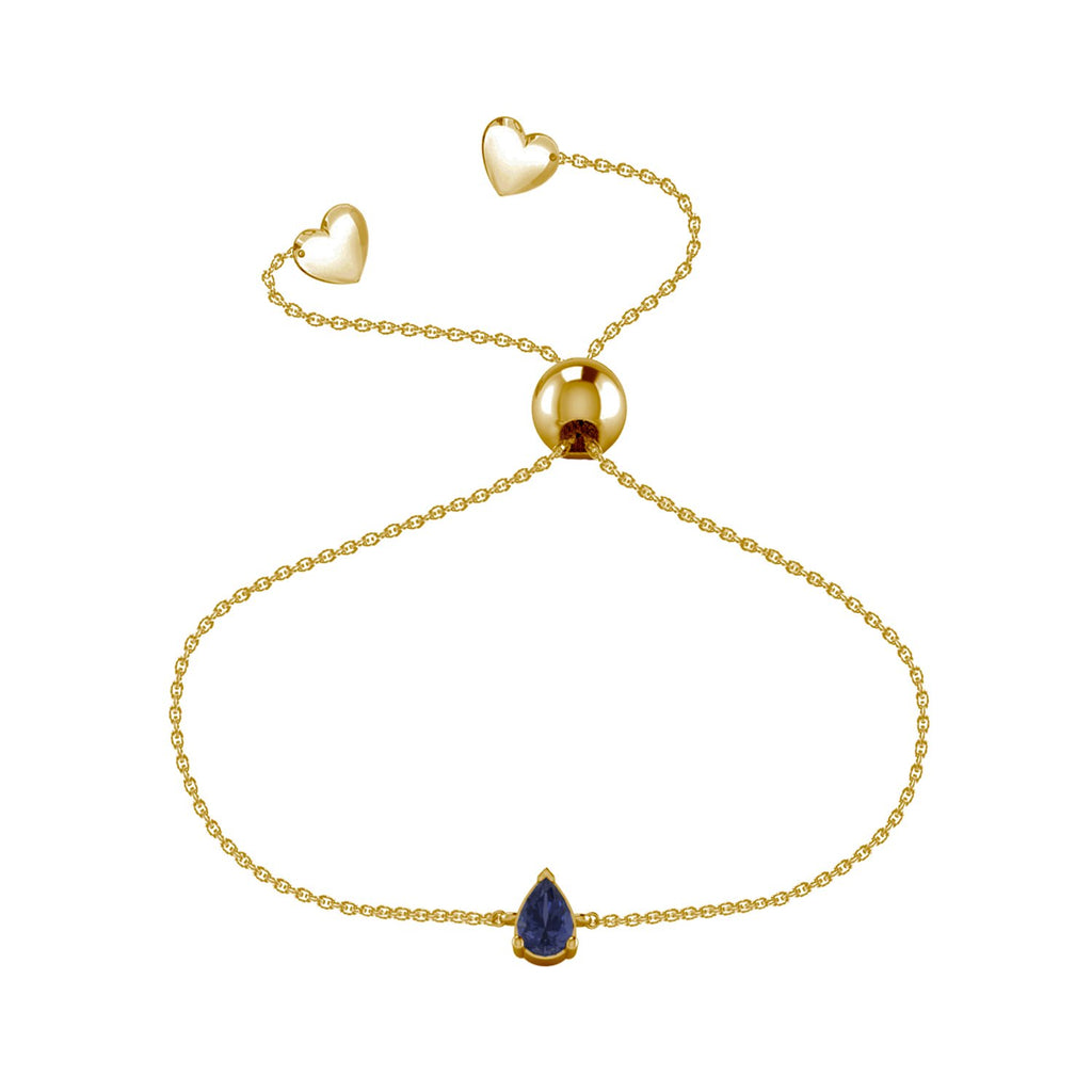 Affinity Collection Blue Sapphire Pear Friendship Bracelet Set in 14k Yellow Gold