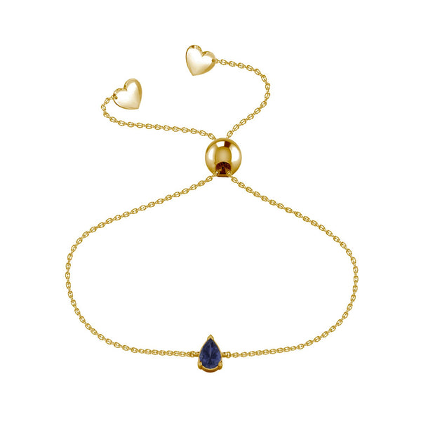 Affinity Collection Blue Sapphire Pear Bracelet Set in 14k Yellow Gold