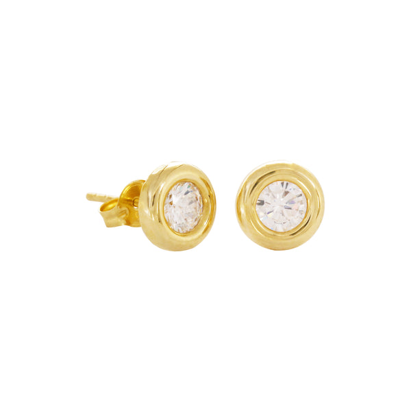 14K Italian Gold Donut with Cubic Zirconia Stud Earrings