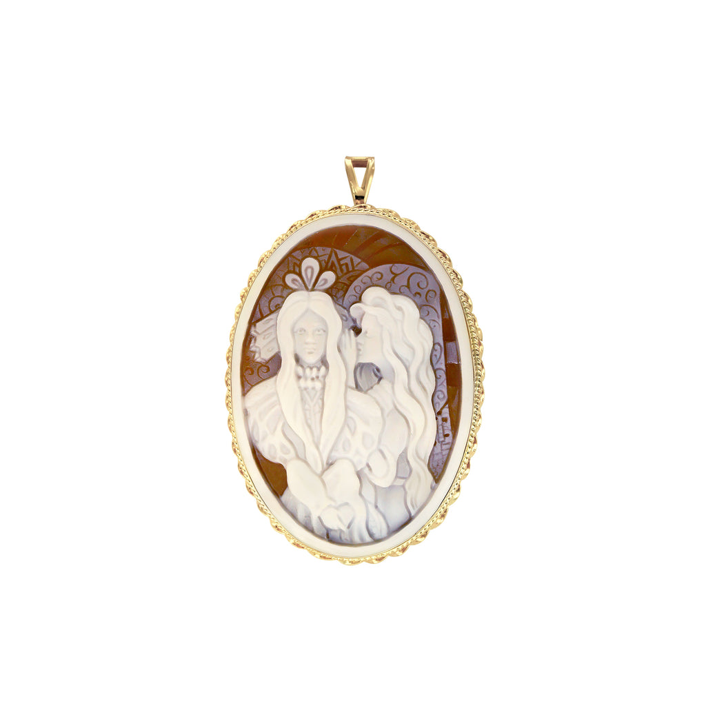 "The Modern Muse Collection ""ANGEL'S WHISPER"" Conch Shell Cameo Pendant/Brooch"