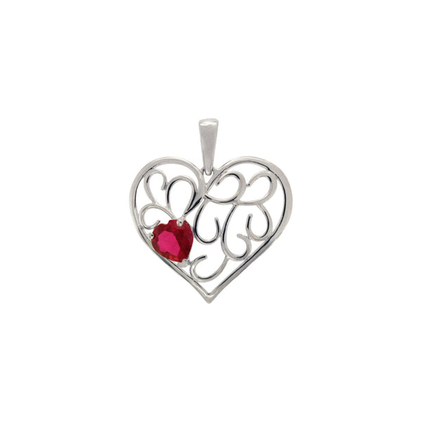 Ruby Heart Pendant in 14k White Gold