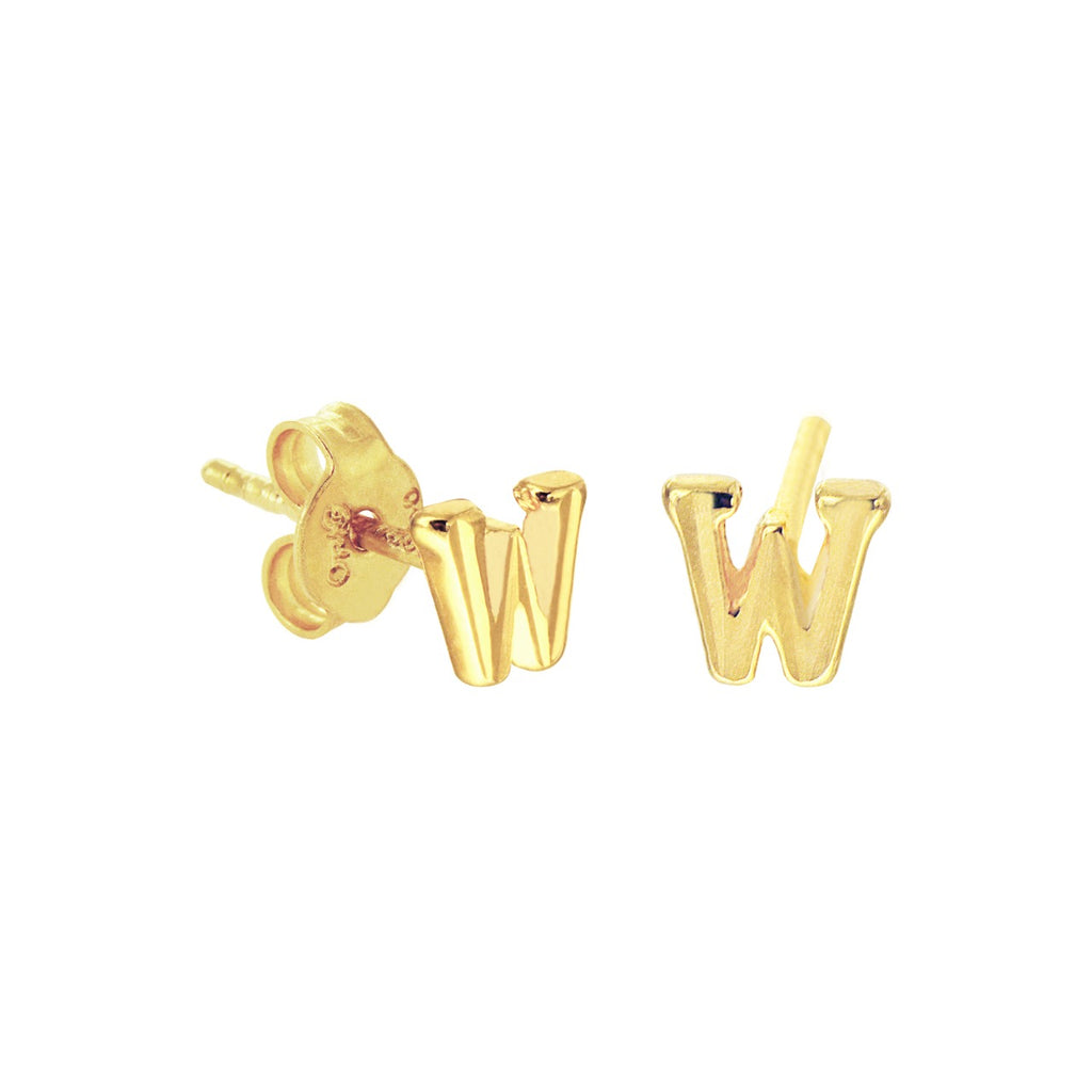 18K Chinese Gold Letter Stud Earrings