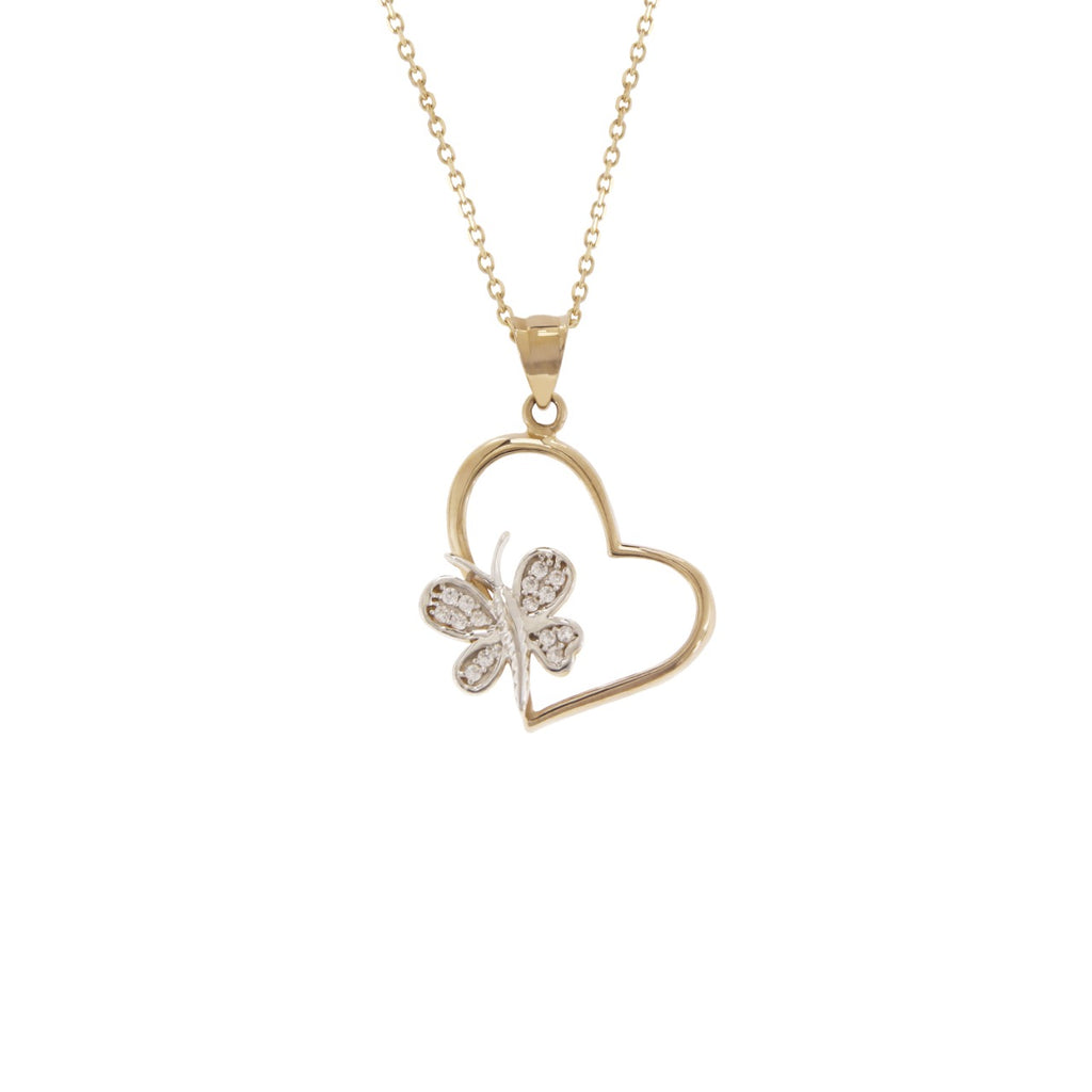 14K Italian Gold Necklace with Cubic Zirconia Heart and Butterfly Pendant