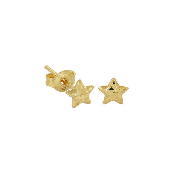 18K Saudi Gold Star Stud Earrings