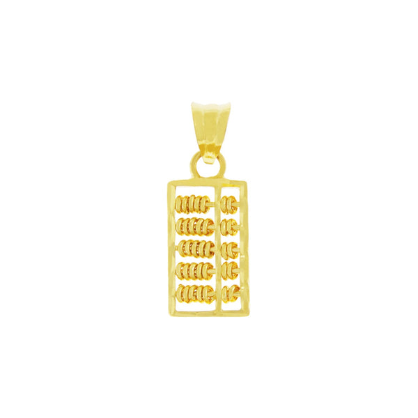 18K Chinese Gold Rectangular Abacus Pendant