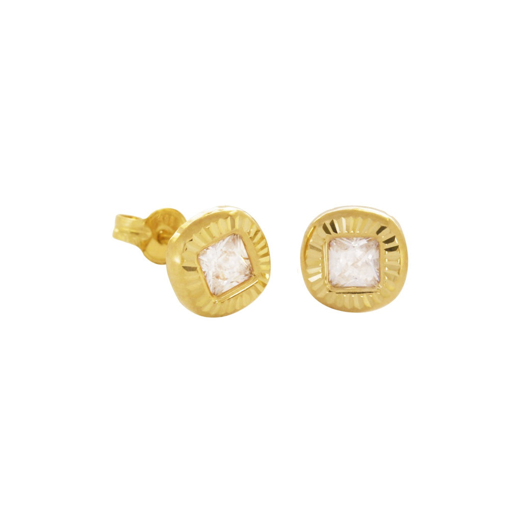 14K Italian Gold Engraved Square with Cubic Zirconia Kids  Stud Earrings